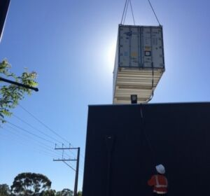 ICSSA showed their experience and expertise when installing a refrigerated shipping container where there was extremely tight access